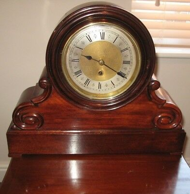Antique fusee gallery bracket clock solid mahogany cased