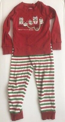 Gymboree Girls Christmas Holiday Pajamas 3 3T Two Piece Red Green Owls Cotton