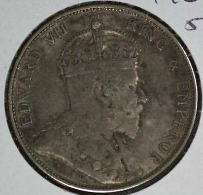 1902 Straits Settlement Fifty Cents Silver Coin - Nice original coin!!