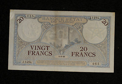 Morocco 20 Francs Note 1945- Strong VF to XF Note