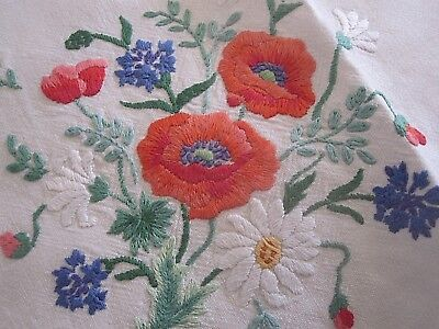 Beautiful Vintage Hand Embroidered Linen Tablecloth  Lovely Embroidery