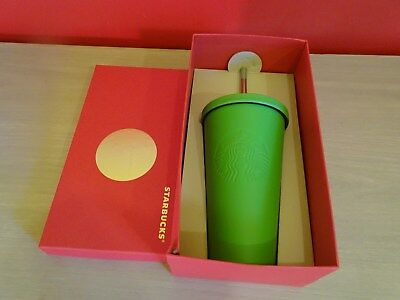 Starbucks 2014 Stainless Steel Matte Cold Cup Green Tumbler 16oz Metal Straw NIB