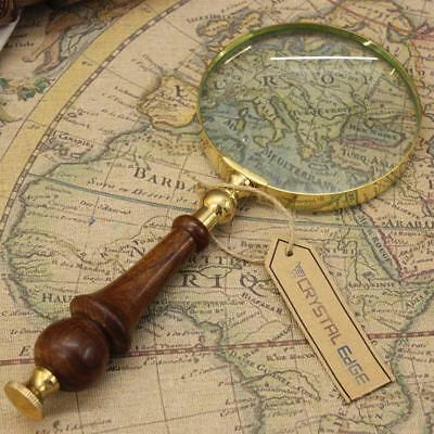 Magnifier Reading Repair Magnifying Glass With Wooden Handle Vintage Xmas Gift