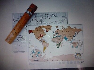 Scratch Off World Map Poster Personalized Travel Vacation Personal Gift Uk