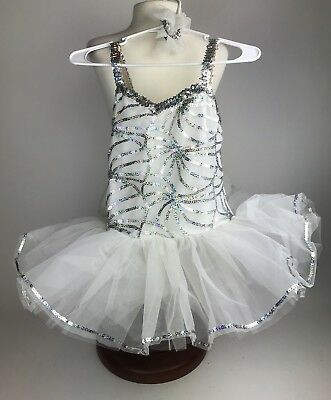 Girls Size: 10A Style#E4011 Dance Pageant Costume Tutu Shiny All White