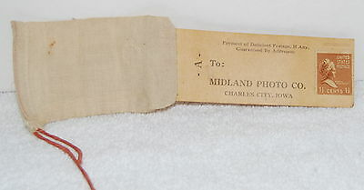 Vintage Photo Processing Mailer, Midland Photo, Charles City, Iowa, Cloth Bag