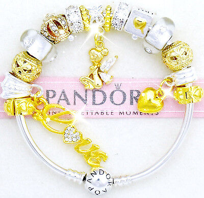 Pandora Charm Bracelet Bangle Silver with Gold Fairy European Charms