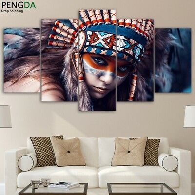 Indian Girl Pretty Colorful Beautiful Fight 5 pcs Modular Canvas Printed Poster