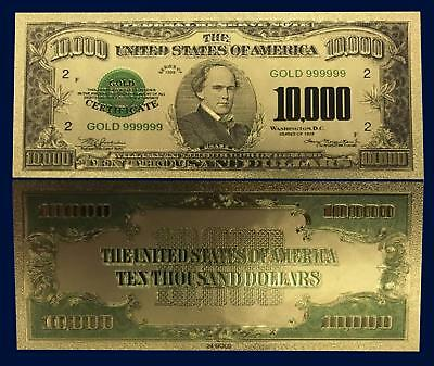 24K Gold Plated 1928 $10,000 Us Currency Dollar Banknote Novelty Money W-Sleeve