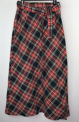 Vintage Womens Long A-line Plaid Wool Skirt Size 15 16 Holidays Red Green