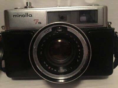 Vintage Minolta 7S 35mm Rangefinder Film Camera With 45mm Lens & Case