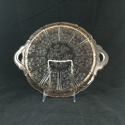 """Jeannette (1930-39), Depression Glass, Pink Cherry Blossom, 12.5"""" 2-Handled Tray"""