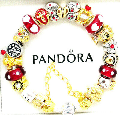 Authentic Pandora Bracelet Silver Red Gold Mom Daughter European Charms Gift New