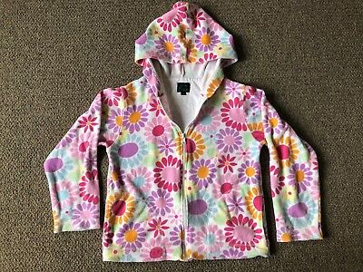 Girls MINI BODEN Floral Towelling Hoodie Hoody Hooded Zipped Cardigan 9 - 10 yrs