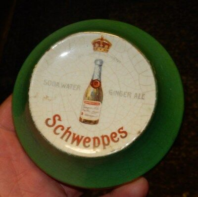 RARE English Ceramic Schweppes Soda Water Ginger Ale Soda Paper Weight Coin Dish