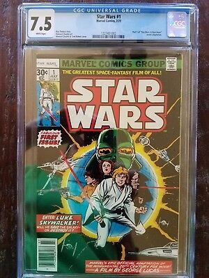 Star Wars comic #1 1977 CGC graded 7.5 WHITE PAGES First Print