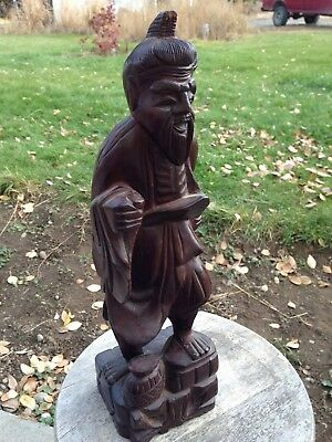 Chinese Box-Wood Hand Carved Old Man~Fish~Fisherman Statue~NR