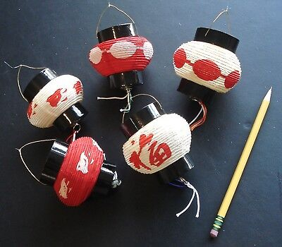 Vintage Holiday Ornaments Asian Paper Lanterns Collapsable Set of 5