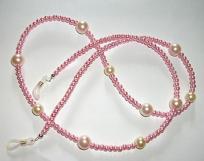 """#candyfloss# Pink Specs Chain Cream Glass Pearl Cord Chain 26"""" Light Pink Ladies"""