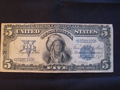 1899 $5 Indian Chief Silver Certificate Un-Graded - Very Nice..