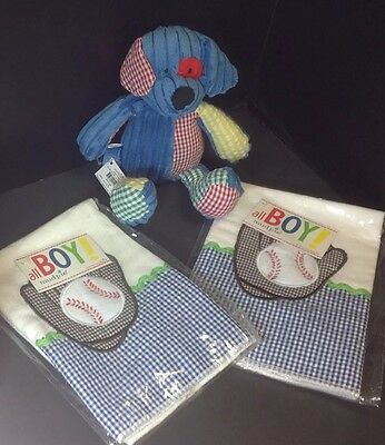 Mud Pie Toy DOG and BASEBALL BURP CLOTH 3 PC SET All Cotton NWT Matching Check