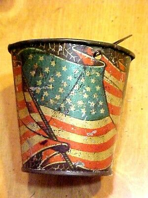 Antique Miniature Tin Sand Pail American Flag 40 Stars 1889 South Dakota U.S.