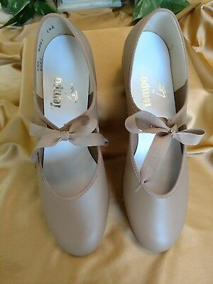 TEMPO by Leo's ladies 9.5M tan leather tap dance shoes w/ribbon tie