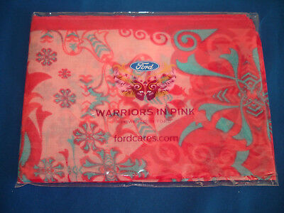 "Ford WARRIORS IN PINK 8"" x 52"" Poly & Cotton Scarf Fight Breast Cancer"