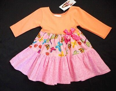 NWT Adorable  Boutique Peach Hot Pink Rainbow Butterfly Dress 12 months