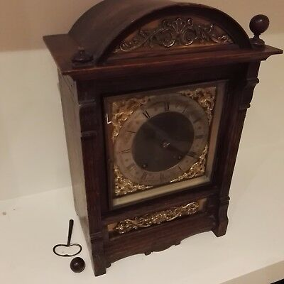 Antique Edwardian Oak Cased Mantel Clock with Silvered Dial