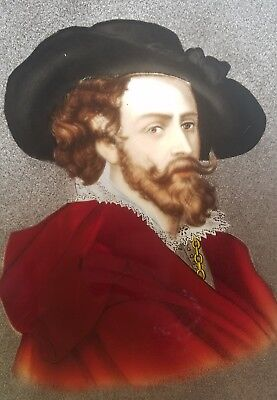 Antique Elizabethan Stained Glass Window Art Painting Shakespeare Style Man