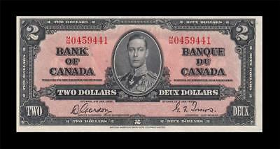 "1937 BANK OF CANADA KGVI $2 ""Consecutive 1 of 2"" (( GEM UNC ))"