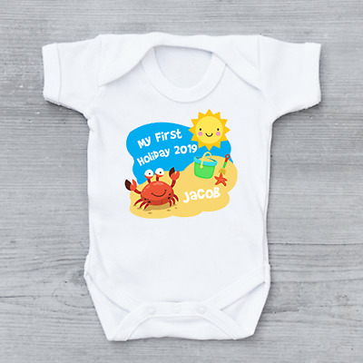 My First 1st Holiday Summer Abroad Beach Personalised Baby Grow Bodysuit Vest