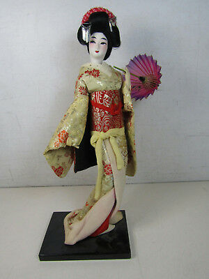 "Japanese Geisha Girl Doll Red Gold Kimono Red Purple Umbrella 16"" Tall"