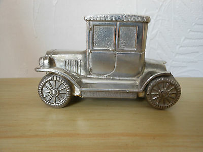 Ford Model T Silver Plated Coupe Car Vintage Money Box