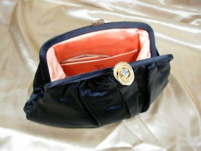 Vtg black Satin Evening Bag Clutch*bobbie jerome*=Rhinestone Clasp-EXC