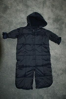 Baby Boys Babygap Navy Winter Snow Suit Age 6-12 Months Hooded Pram Suit Warm