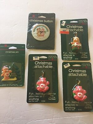 Carebears Vintage Christmas Lot Of Pins And Keychain Style Attachable American