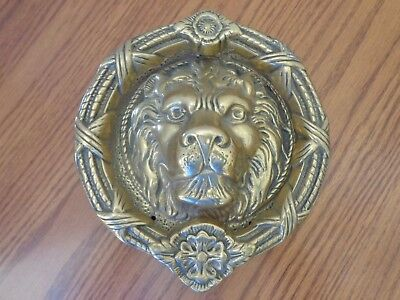 "LARGE Vintage Brass Lion Head Figure Door Knocker Almost 8"" and 4+ Pounds"