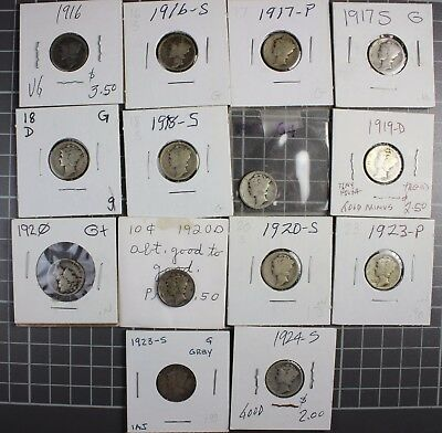 56-Mercury Dime Collection Set * 1916-1945-S * All Different * See Dates/grades