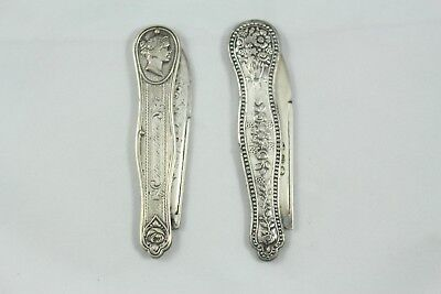Two Antique Victorian Silver Pocket Knives