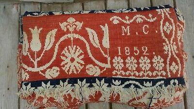 Antique 1800's Red, White &  Blue Coverlet Woven with Initials M.C. 1852