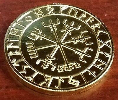 VALHALLA THOR HAMMER Coin Compass Good Luck  Runes Runic Pagan