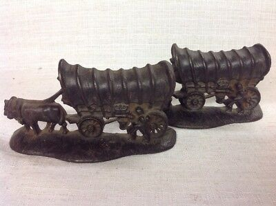 Vintage Antique Cast Iron Bronze Covered Wagon Bookends