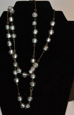 art deco vintage style foiled white glass bead necklace