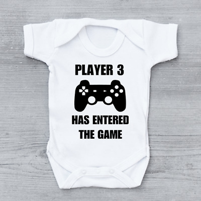 Player 3 Three Has Just Entered The Game Funny Geek Baby Grow Bodysuit