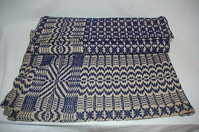 "Vintage Blue and White Wool Coverlet 72"" x 96"""