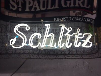 1968 Vintage Old Neon Schlitz Beer Sign Bright And Ultra Rare