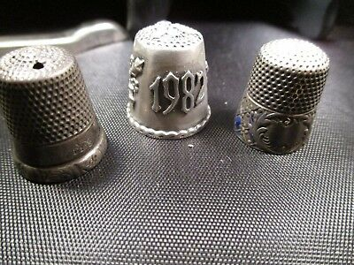 3 Sterling Silver Thimbles