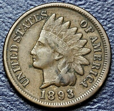 1893  Indian Head Cent * Fine+ Details * Full  Liberty  #3